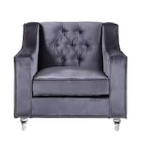 Chic Home Berry Velvet Round Acrylic Feet Club Chair, Grey