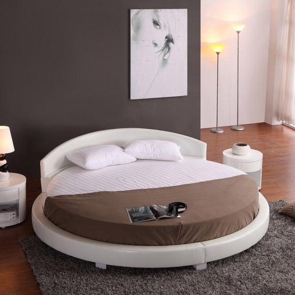 leather circle beds for kids | Shop Panda White Faux Leather Round Platform Bed (87 ...