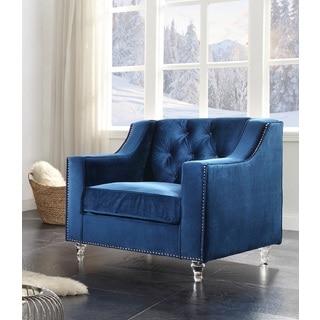 Chic Home Berry Velvet Round Acrylic Feet Club Chair, Blue