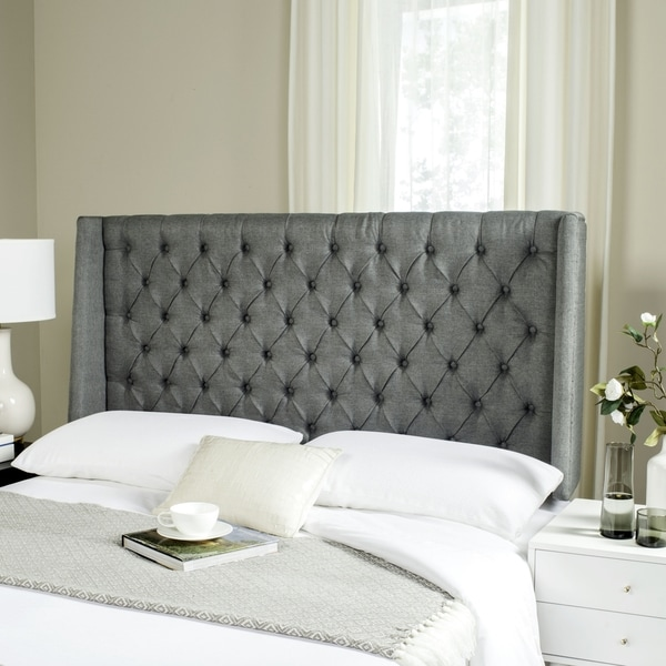 shop safavieh london grey linen tufted winged headboard queen free shipping today. Black Bedroom Furniture Sets. Home Design Ideas