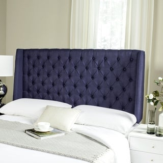 Link to Safavieh London Navy Linen Tufted Winged Headboard (Queen) Similar Items in Bedroom Furniture