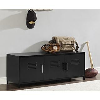 "48"" Metal Locker Style Storage Bench - Black"