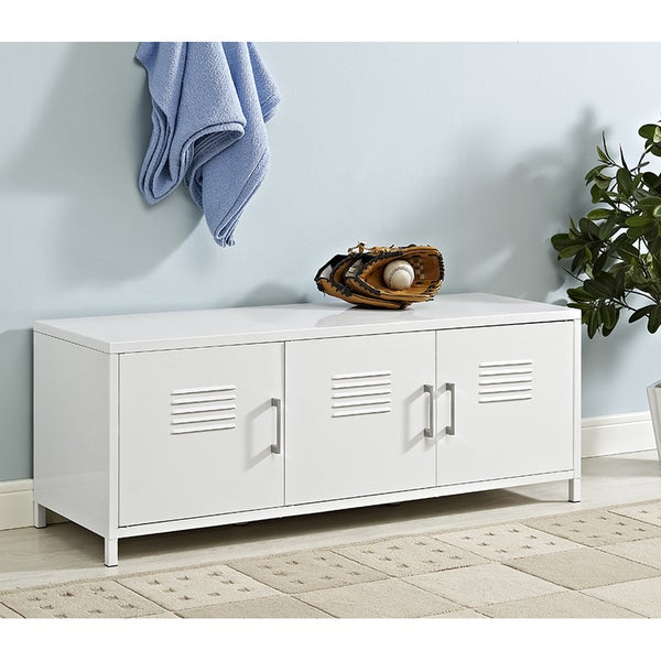 "48"" White Metal Locker Style Storage Bench. Opens flyout."