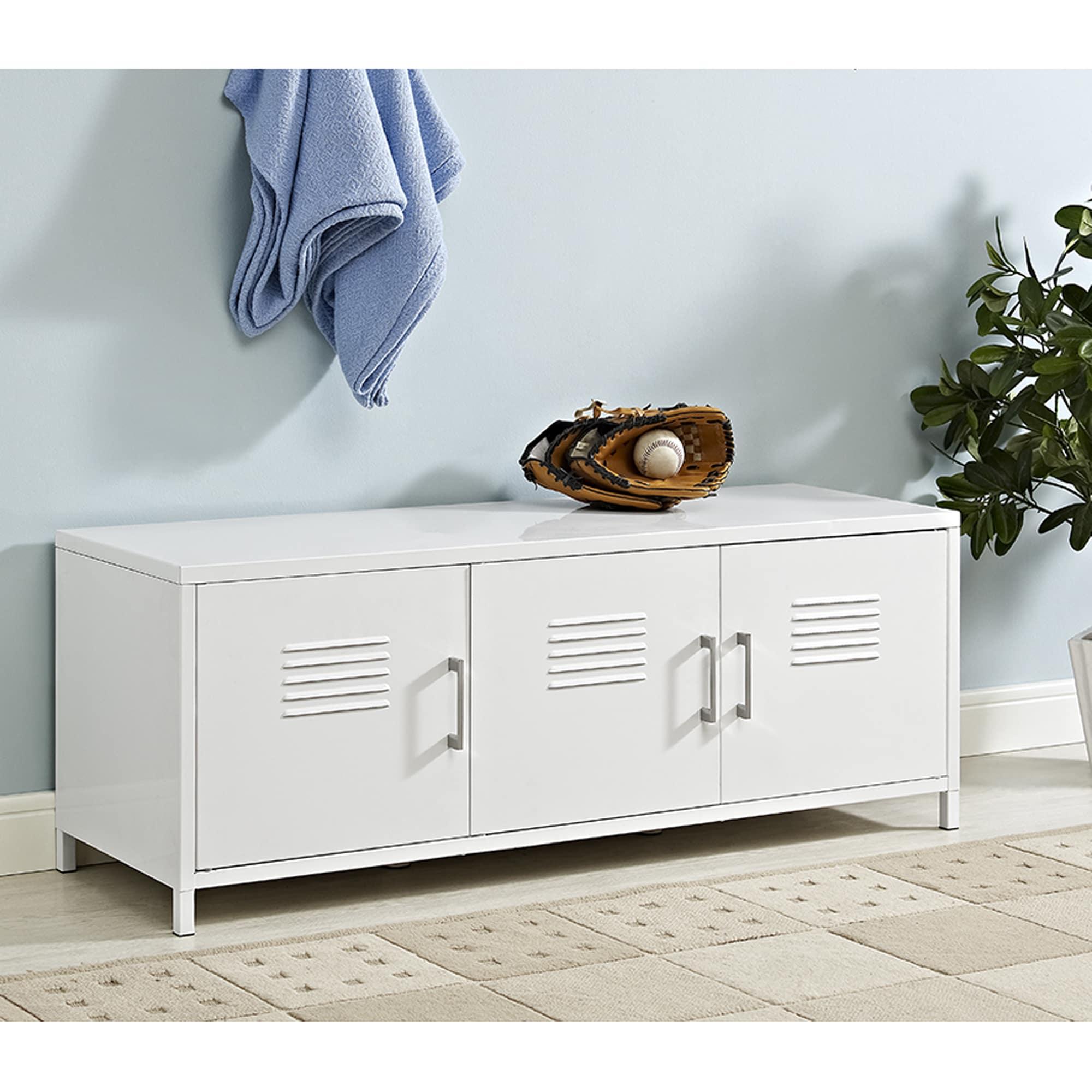 "48"" Metal Locker Style Storage Bench - White"