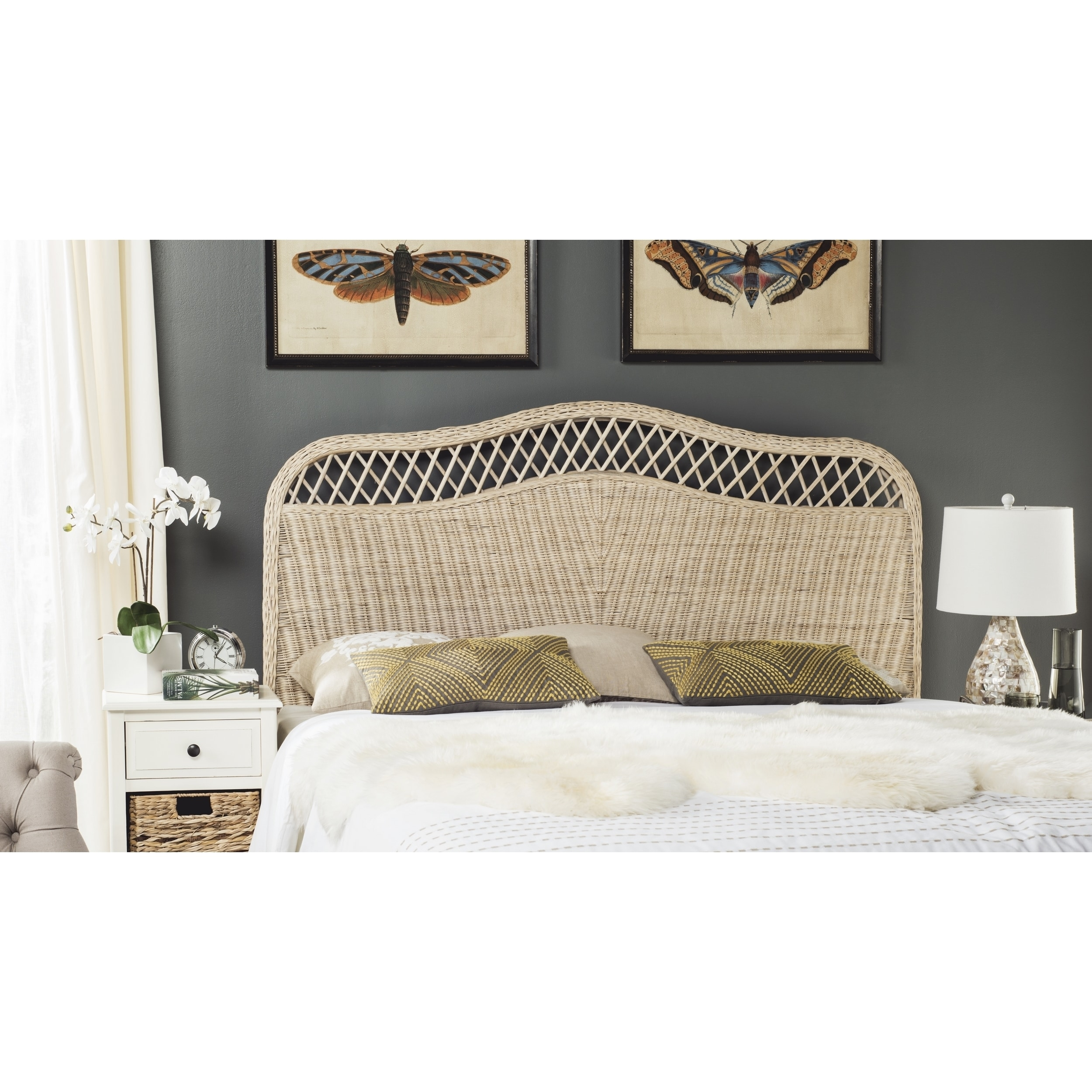 Shop Safavieh Sephina White Washed Rattan Headboard Queen On