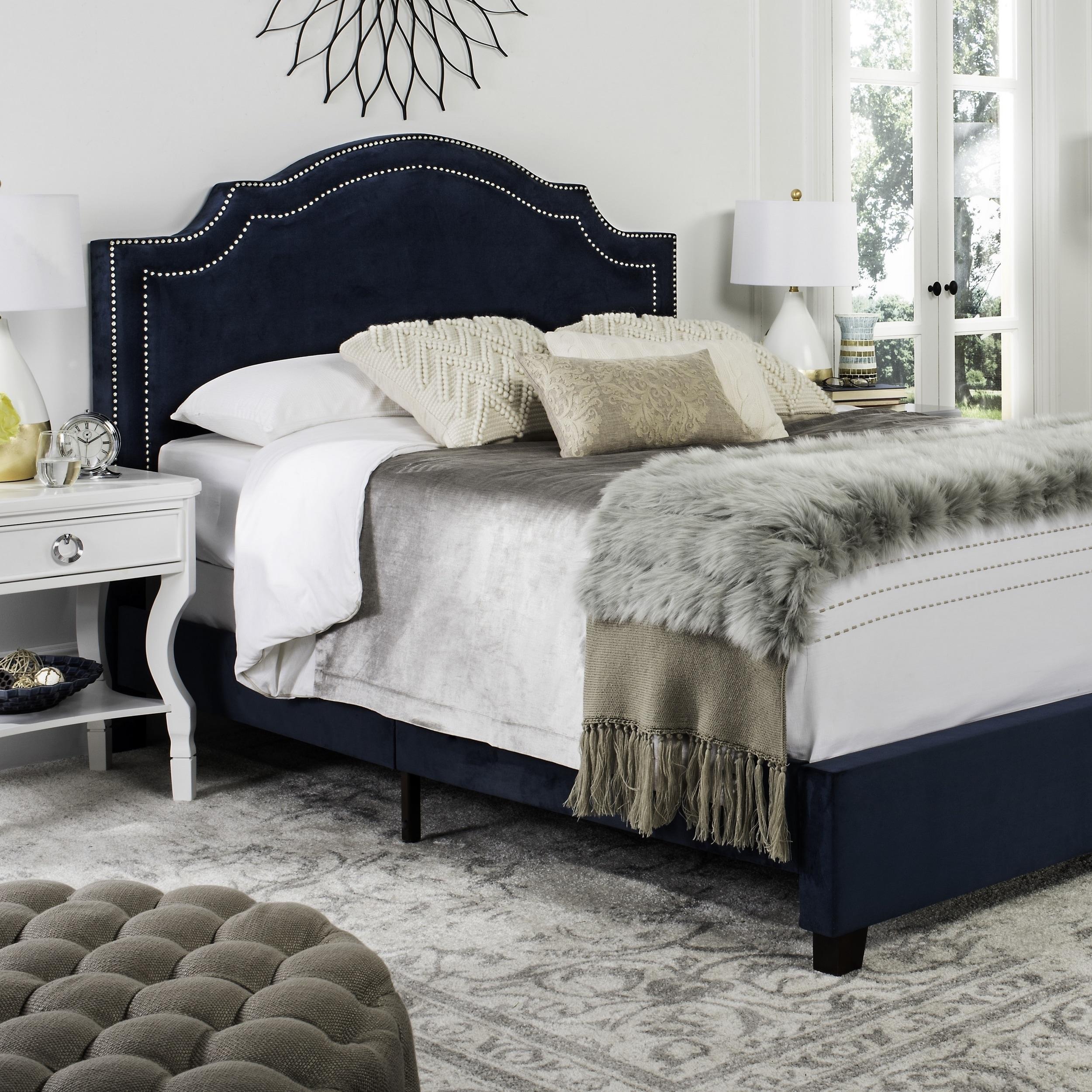 Safavieh Theron Navy Bed (Queen) (FOX6211E-Q), Blue