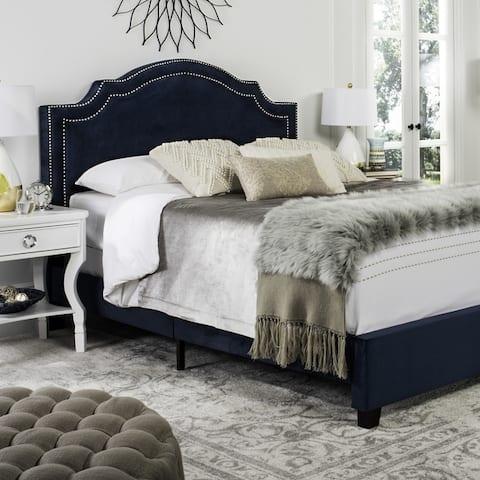 SAFAVIEH Theron Navy Bed (Queen)