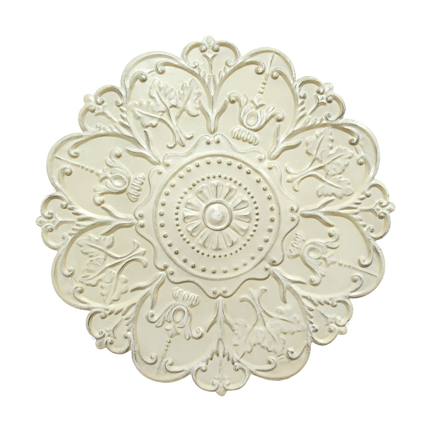 Medallion Wall Art Floral Accent Round Metal Home Decor Shabby White Finish