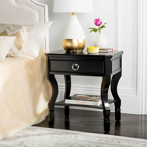Safavieh Alaia One Drawer Black / Black Night Stand