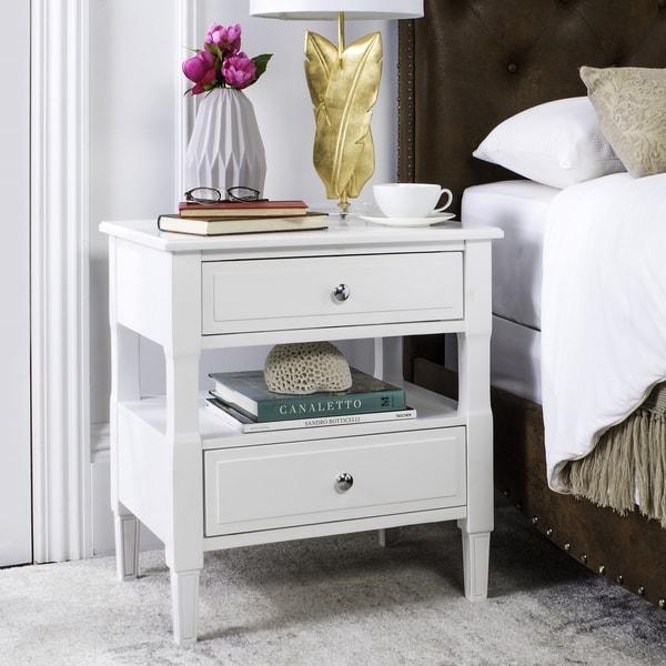 shop safavieh jenson two drawer white white night stand
