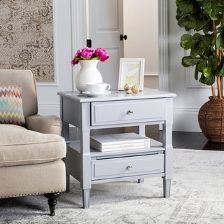 Safavieh Jenson Two Drawer Grey / Grey Night Stand