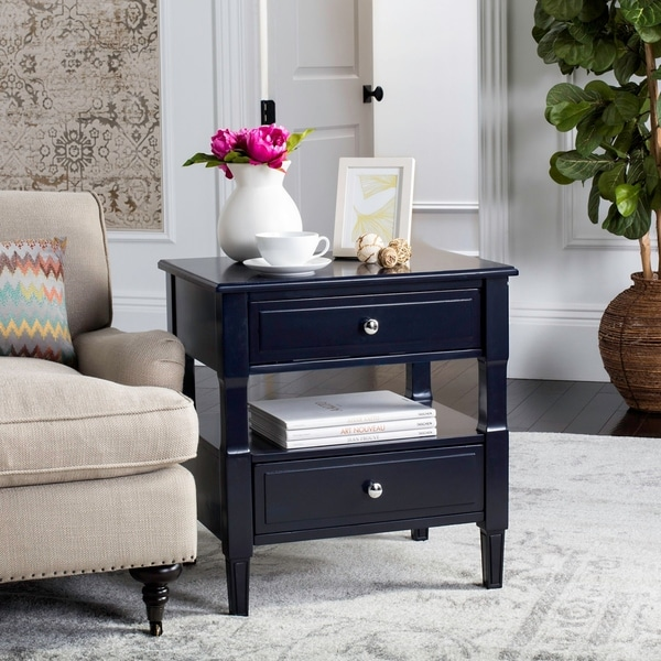 Safavieh Jenson Two Drawer Navy / Navy Night Stand