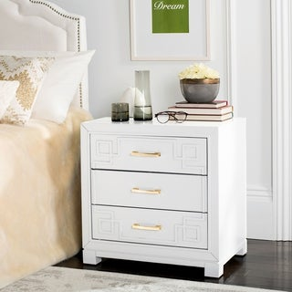 Safavieh Raina Three Drawer Greek Key White / White Night Stand
