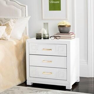 safavieh raina three drawer greek key white white night stand