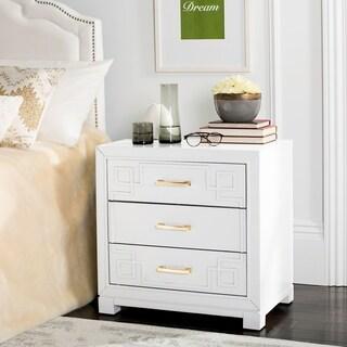 Safavieh Raina Three Drawer Greek Key White / White Night Stand