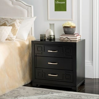 Safavieh Raina Three Drawer Greek Key Black / Black Night Stand