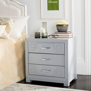 Safavieh Raina Three Drawer Greek Key Grey / Grey Night Stand (As Is Item)