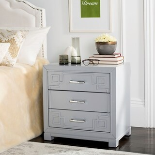 Safavieh Raina Three Drawer Greek Key Grey / Grey Night Stand