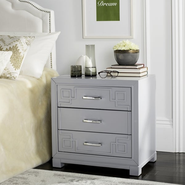 Shop Safavieh Raina Three Drawer Greek Key Grey Grey