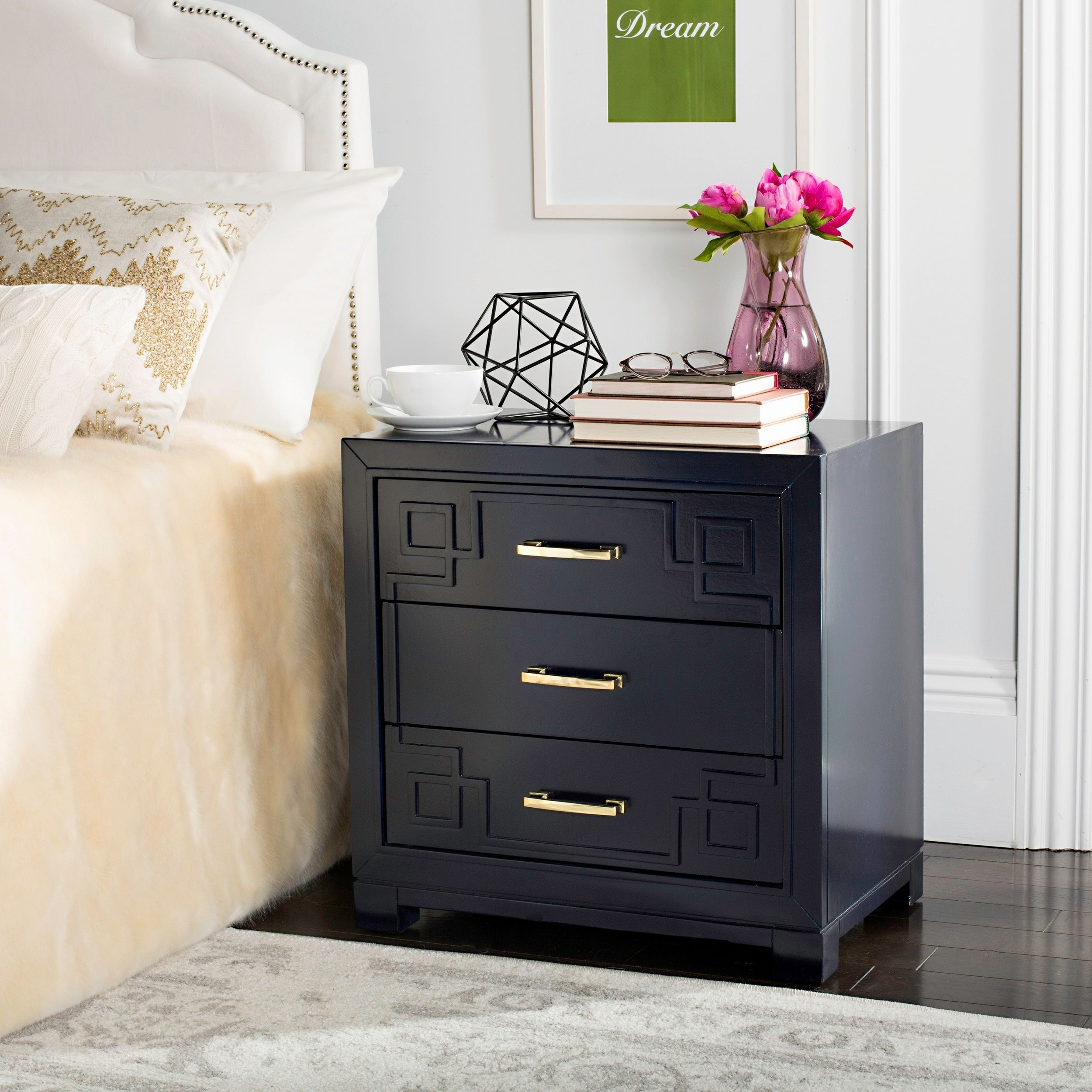 Safavieh Raina Three Drawer Greek Key Navy Navy Night