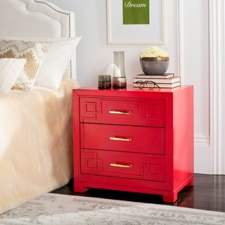 Safavieh Raina Three Drawer Greek Key Red Night Stand
