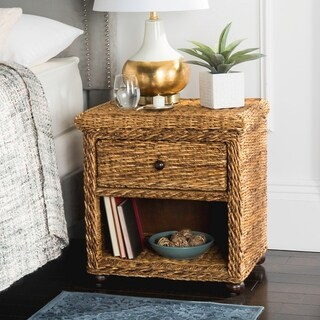 Safavieh Magi Wicker One Drawer Natural Abaca Brown Nightstand