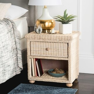 Safavieh Adira Wicker One Drawer Natural White Wash Nightstand
