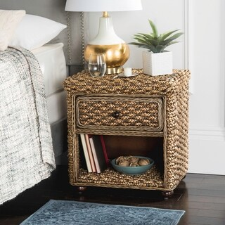 Safavieh Musa Braided Wicker One Drawer Brown Wash Nightstand