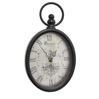 Stratton Home Decor Antique Black Metal Oval Wall Clock