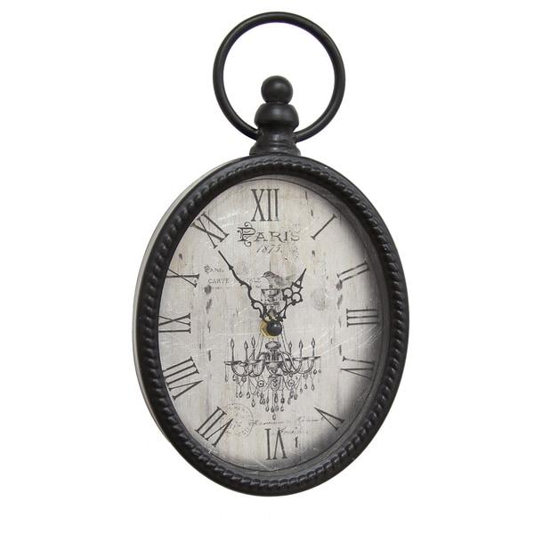 16531ebce Shop Stratton Home Decor Antique Black Metal Oval Wall Clock - Ships ...