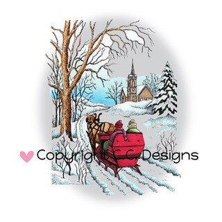 "DoveArt Cling Stamp 3.5""X4.75""-Sleigh Ride"