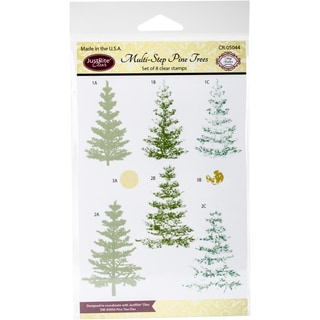 JustRite Papercraft Clear Stamps 4X6-Multi-Step Pine Trees