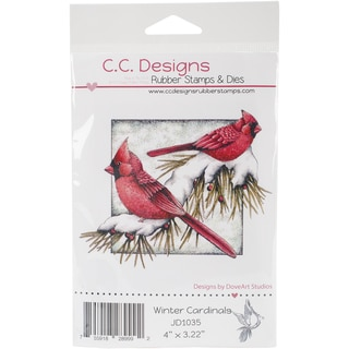 DoveArt Cling Stamp 4X3-Winter Cardinals