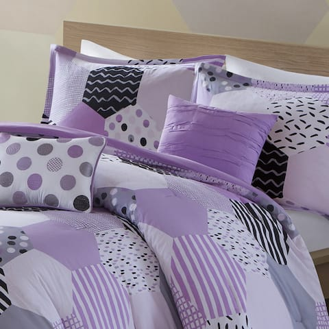 Urban Habitat Kids Evie Purple Cotton Printed Comforter Set