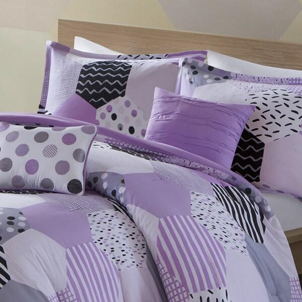 Urban Habitat Kids Evie Purple Cotton Printed 5-piece Comforter Set