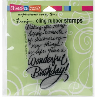 Stampendous Cling Stamp 3.5X4 -Birthday Wish