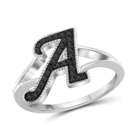 Jewelonfire Sterling Silver Black Diamond Accent A to Z Initial Spell It Out Ring