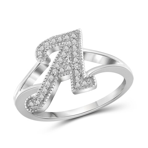 Jewelonfire Sterling Silver White Diamond Accent A to Z Initial Spell It Out Ring