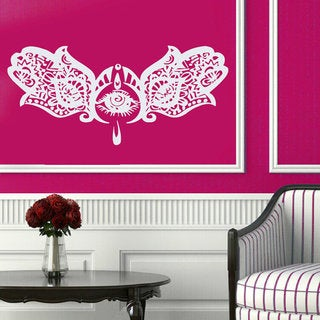 Indian Hamsa Hands Sticker Yoga Mandala Wall Decor Vinyl Home Decor Bedroom Nursery Decor Sticker Decal size 48x76 Color Black