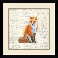 Framed Art Print 'Into the Woods IV no Border (Fox)' by Emily Adams 17 x 17-inch