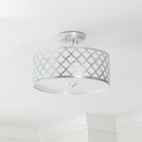 "Safavieh Lighting 15-inch Kora 3-light Silver Flush Mount - 15"" x 15"" x 10.5"""