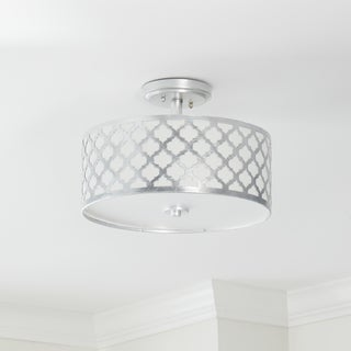 Safavieh Kora 3 Light 15-Inch Dia Silver Flush Mount