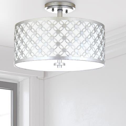 "Safavieh Lighting Hutch 3-light Silver Flush Mount - 16"" x 16"" x 10.25"""