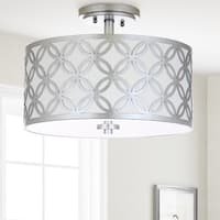 Safavieh Lighting 15-inch Cecily 3-light Silver Flush Mount