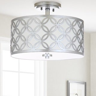 Safavieh Lighting 15-inch Cecily 3-light Silver Flush Mount