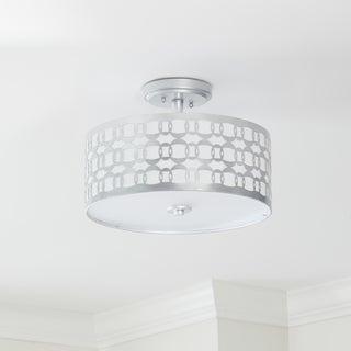 Safavieh Lighting 15-inch Cedar Linked 3-light Silver Flush Mount