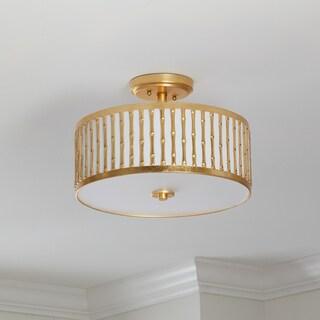 Safavieh Lighting 15.25-inch Pierce 3-light Gold Flush Mount