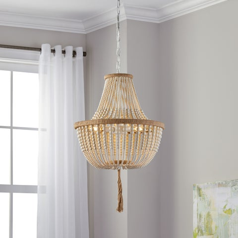 "Safavieh Lighting 16.5-inch Lush Kristi 3-light Cream Beaded Pendant - 16.5"" x 16.5"" x 29.75- 111.75"""
