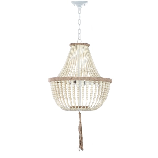 Safavieh Lighting 16.5-inch Lush Kristi 3-light Cream Beaded Pendant