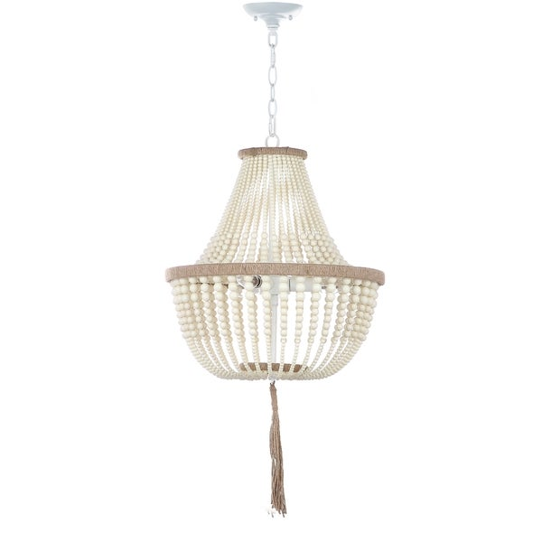Good Beaded Lighting. Safavieh Lighting 16.5 Inch Lush Kristi 3 Light Cream  Beaded Pendant